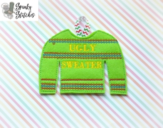 Ugly Sweater Ornament in the hoop embroidery file by spunky stitches
