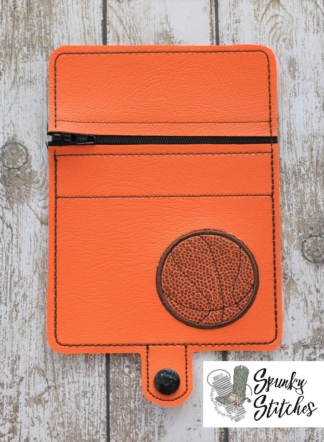 Basketball Mini Zipper Wallet in the hoop embroidery file by spunky stitches