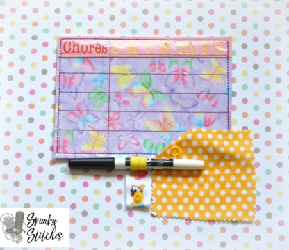 Chores Fridge Note in the hoop embroidery file by spunky stitches