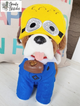 Elf dog Minion costume in the hoop embroidery file by spunky stitches
