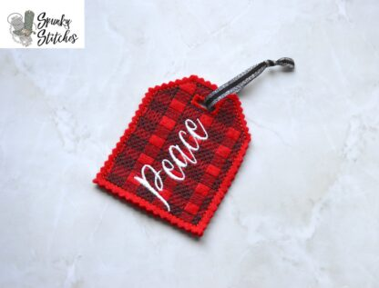 plaid peace gift tag in the hoop embroidery file by spunky stitches