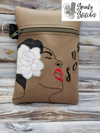 Billie holiday zipper bag in the hoop embroidery file by Spunky stitches