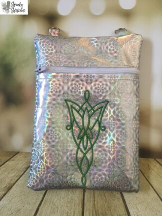 Evenstar Zipper Bag in the hoop embroidery file by Spunky stitches