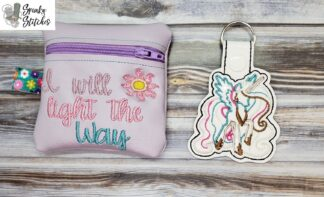 light the way zipper bag in the hoop embroidery file by Spunky stitches