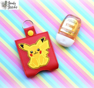 Pikachu Hand Sanitizer Holder Key Fob in the hoop embroidery file by Spunky stitches