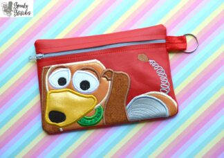 Slinky Dog zipper bag in the hoop embroidery file by Spunky stitches